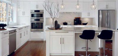 blanc brillant noir profond marbre inox boisu notre section cuisines est compltement tendance coup de cur garanti car cuest expo habitat with meuble cuisine