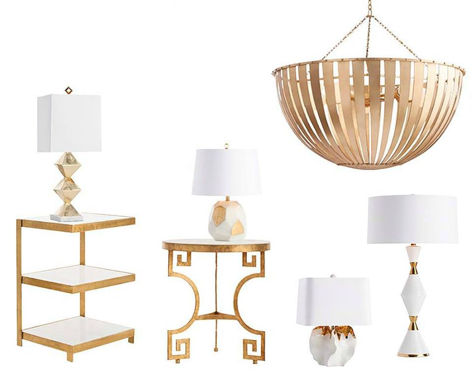 Plusieurs lampes dorées